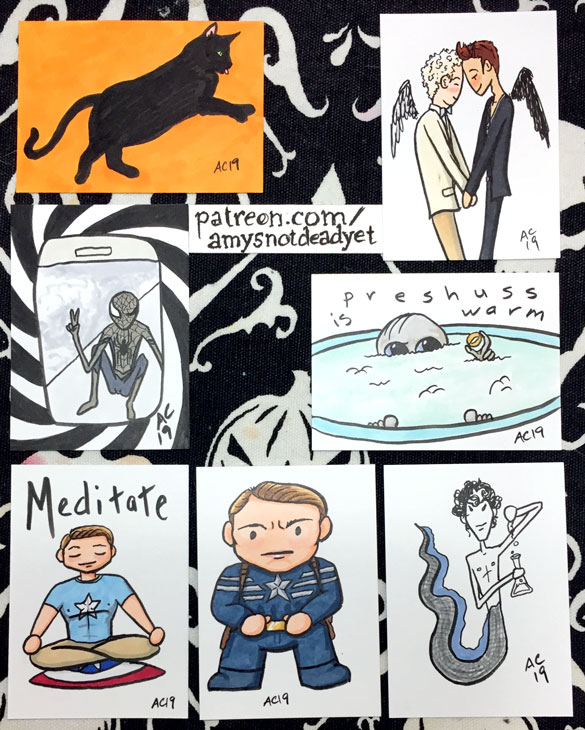 drawings of a black cat, good omens, spider-man, gollum, captain america, and merlock holmes