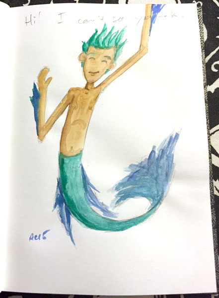 Merdude watercolor sketch by Amy Crook on Periscope