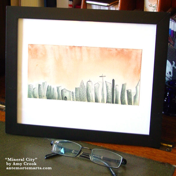 Mineral City, framed art by Amy Crook