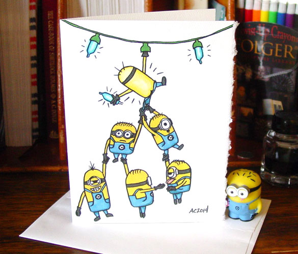 How Many Minions holiday card by Amy Crook at Etsy