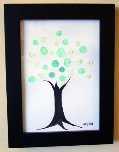 Mod Tree, framed art by Amy Crook