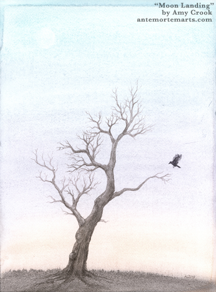 Moon Landing by Amy Crook, watercolor painting of a crow landing on a bare branch under a daylight moon