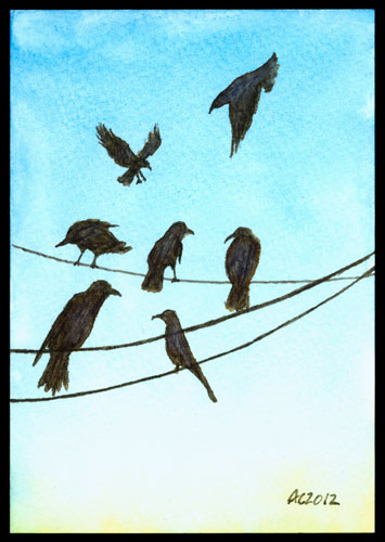A Murder of Crows 2, watercolor by Amy Crook