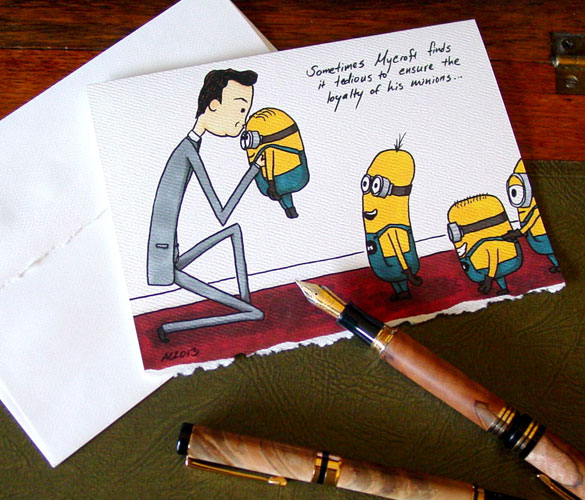 Mycroft's Minons, blank greeting card by Amy Crook at Etsy