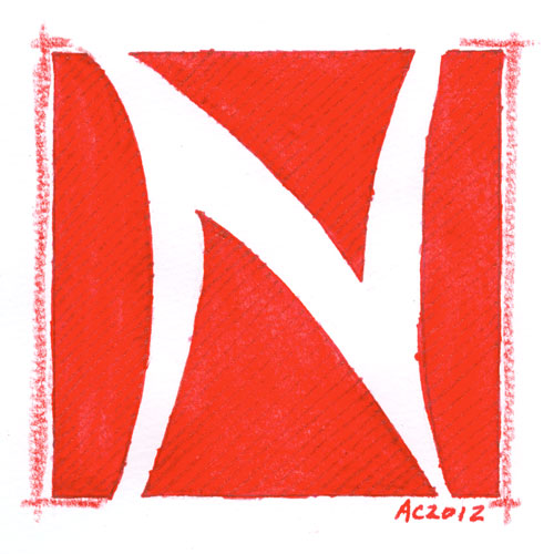 N is for Negative Space, calligraphic illumination by Amy Crook