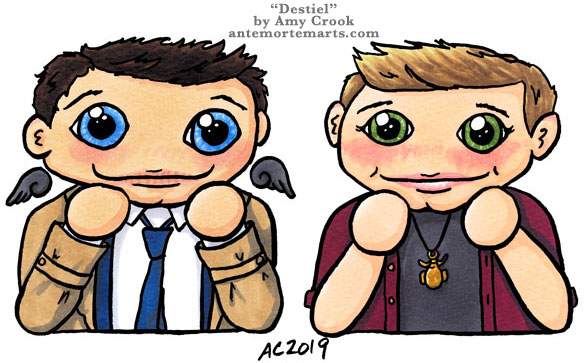 Destiel by Amy Crook, chibi Dean and Castiel with giant loving eyes and chinhands
