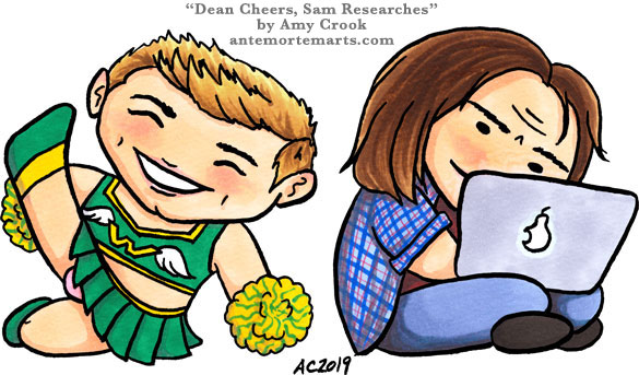 Dean Cheers, Sam Researches, chibi fan art by Amy Crook of Dean as a cheerleader and Sam doing research on his laptop