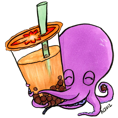 Octopus Loves Boba cartoon by Amy Crook