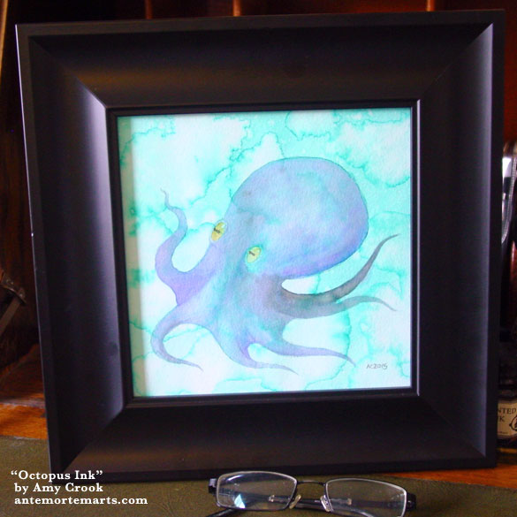 Octopus Ink, framed art by Amy Crook