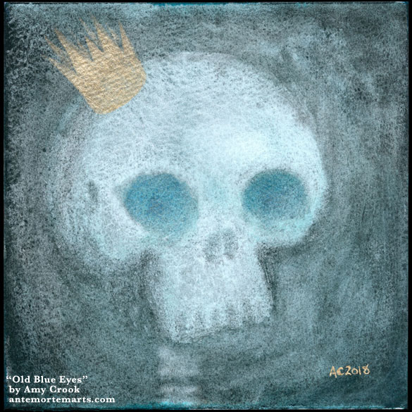 Old Blue Eyes by Amy Crook, a painting of a whimsical-creepy skull with no jaw, a crown, and glowing blue eye sockets