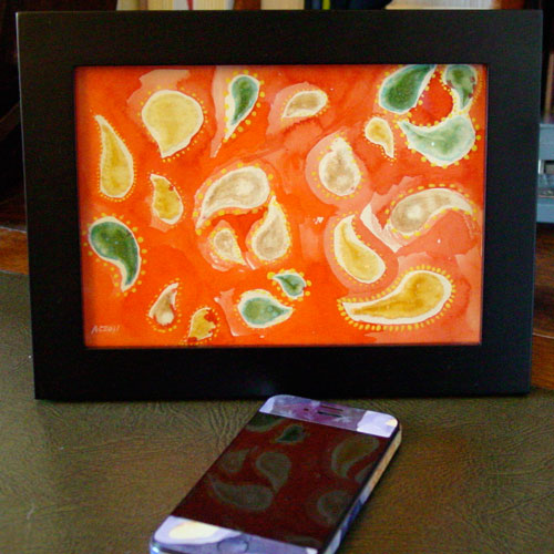 Orange Paisley, framed art by Amy Crook