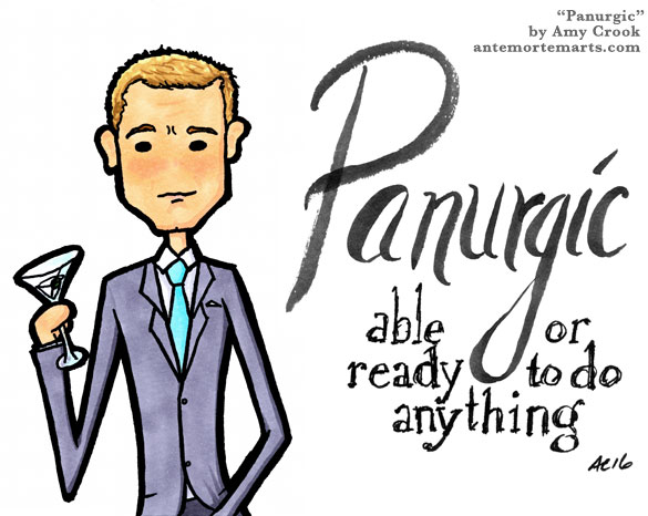 Panurgic, James Bond parody word art by Amy Crook