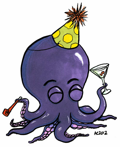 Party Octopus cartoon by Amy Crook