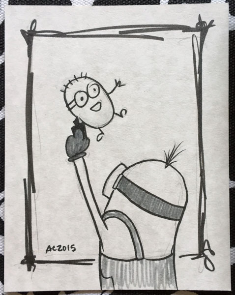 Drawing of a Minion Drawing a Minion by Amy Crook