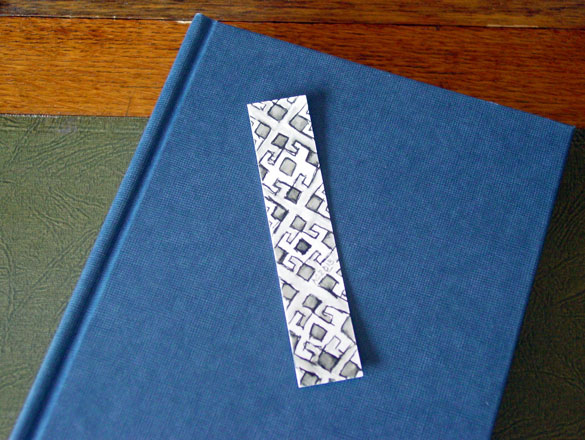 Pattern Bookmark 1, with book, by Amy Crook