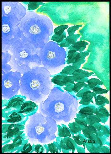 Periwinkle Flowers, watercolor by Amy Crook