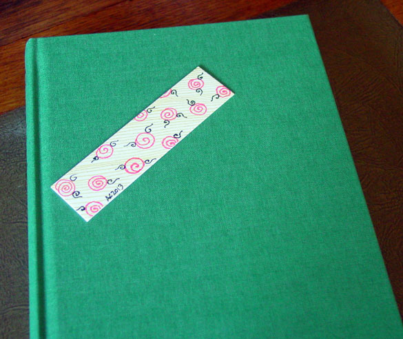 Pink Roses Bookmark, with book, by Amy Crook