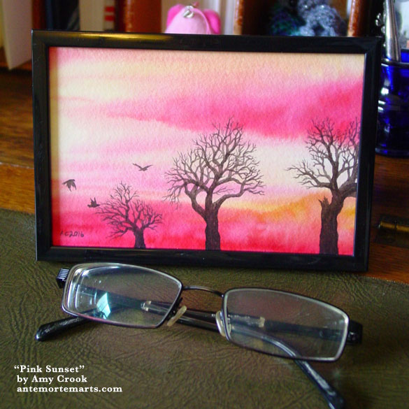 Pink Sunset, framed art by Amy Crook