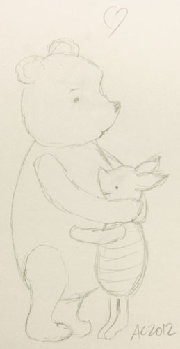Pooh and Piglet hugging, sketch by Amy Crook