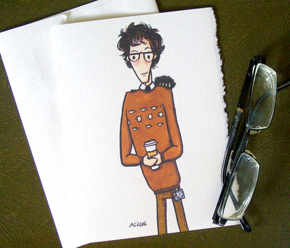 Q Loves Tea greeting card by Amy Crook on Etsy