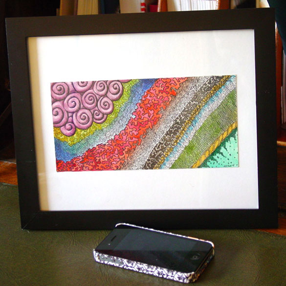 Quilted, framed art by Amy Crook