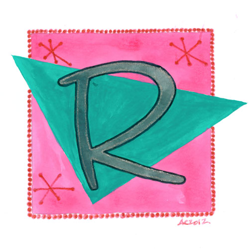 R is for Retro, calligraphic illumination by Amy Crook