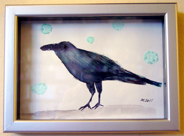 Rain Crow, framed art by Amy Crook