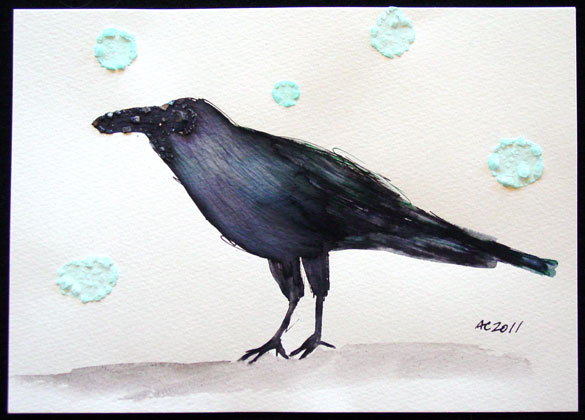 Rain Crow, pen & ink and salt art by Amy Crook