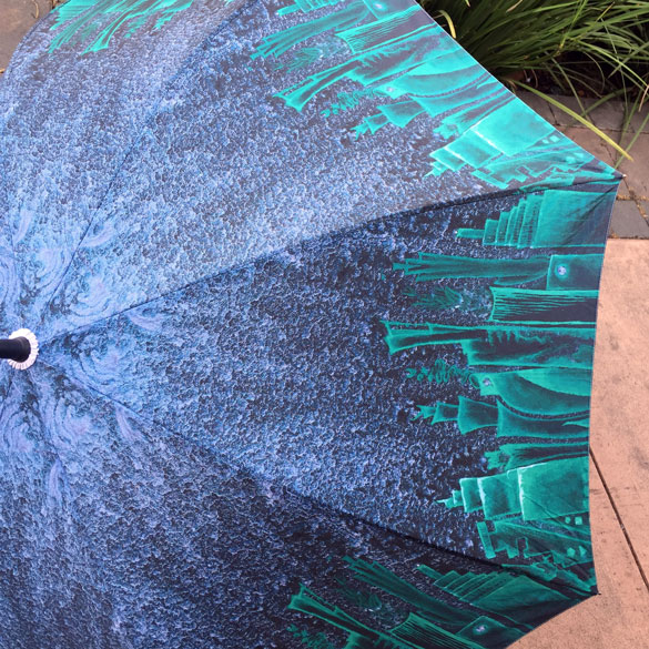 large Rainy City Umbrella, art by Amy Crook