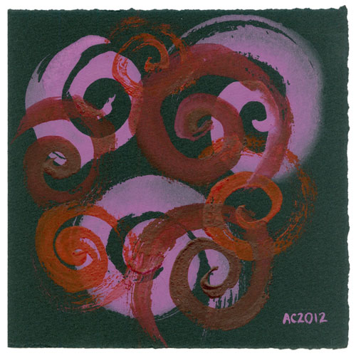 Red-Violet Spirals, abstract watercolor by Amy Crook