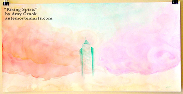 Rising Spirit, a large watercolor of a ghostly building against a sunrise of pink clouds by Amy Crook