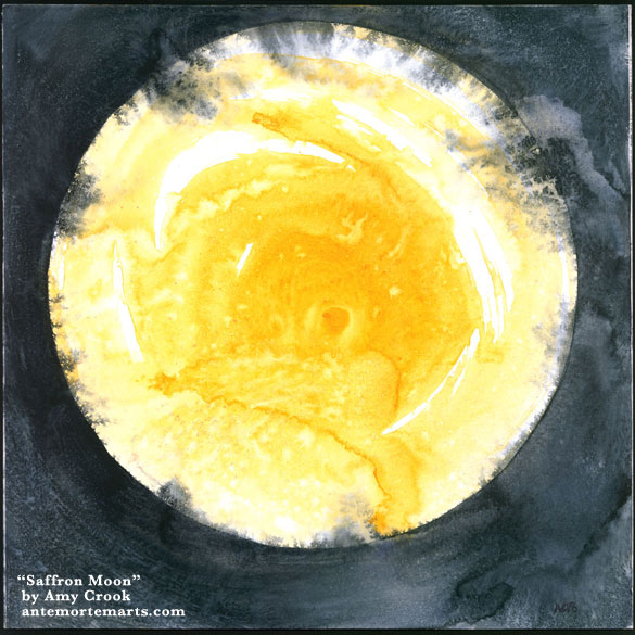 Saffron Moon by Amy Crook, an abstract watercolor with a golden yellow circle against blue-black