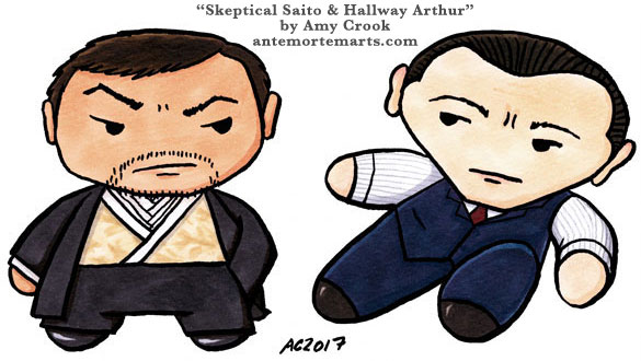 Skeptical Saito and Hallway Arthur, chibi Inception parody art by Amy Crook
