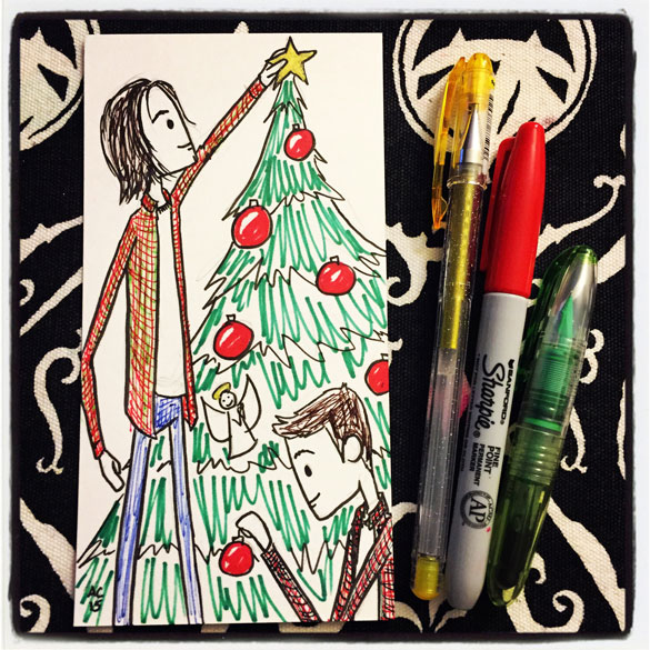 Sam and Dean Winchester at Christmas by Amy Crook