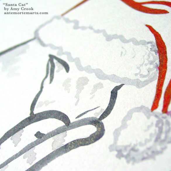 Santa Cat, detail, by Amy Crook