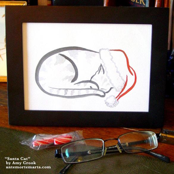 Santa Cat, framed art by Amy Crook