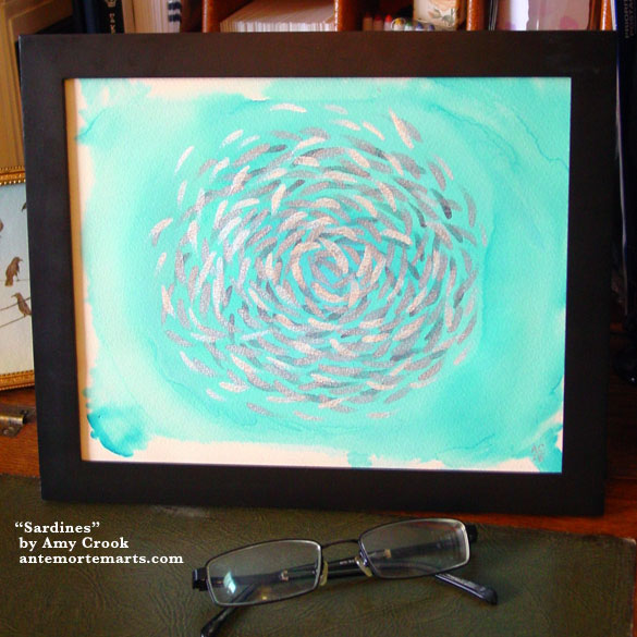 Sardines, framed art by Amy Crook