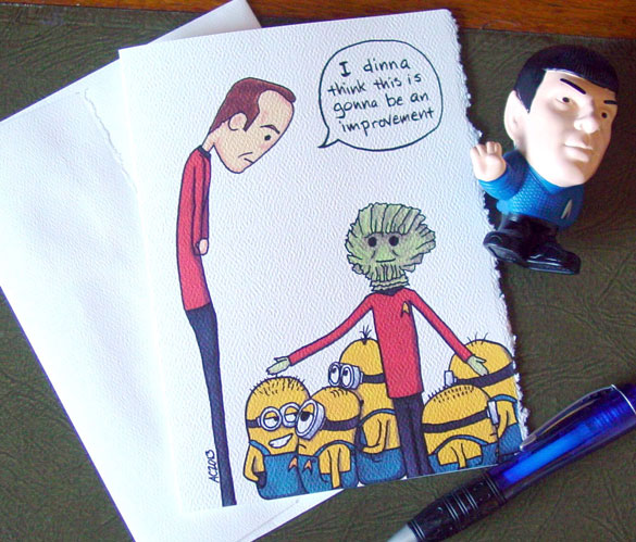 Scotty Gets Minions, blank greeting card by Amy Crook at Etsy