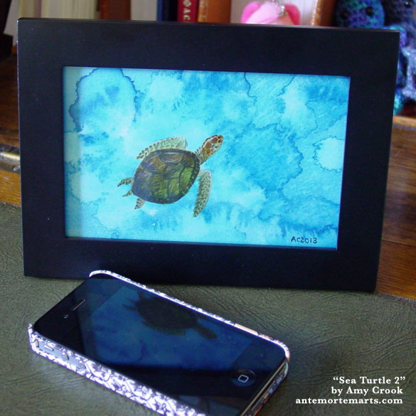 Sea Turtle 2, framed art by Amy Crook