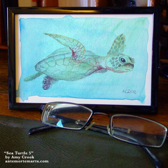 Sea Turtle 5, framed art by Amy Crook