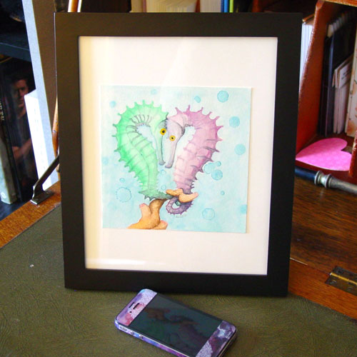 Seahorse Heart, framed watercolor by Amy Crook