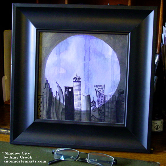 Shadow City, framed art by Amy Crook