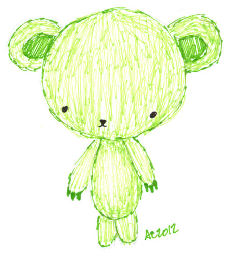 Sharpie Green Bear sketch by Amy Crook