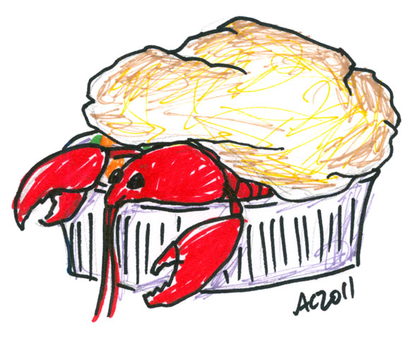 Lobster Pot Pie sharpie sketch by Amy Crook