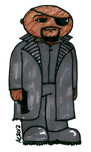 Nick Fury, Agent of Sharpie, sketch by Amy Crook