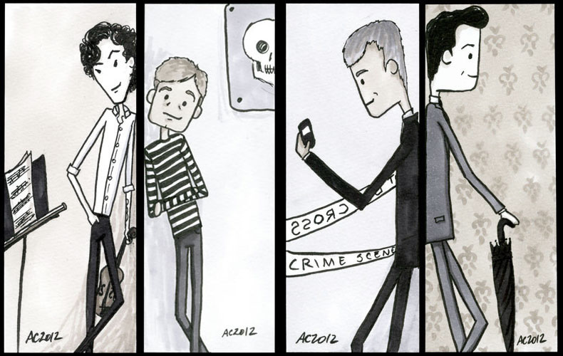 4 Sherlock bookmarks by Amy Crook