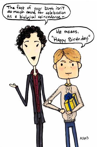 Sherlock Birthday cartoon by Amy Crook