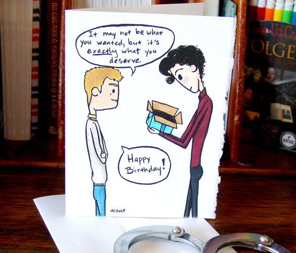 Sherlock birthday card v3 by Amy Crook at Etsy