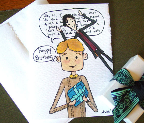 Sherlock birthday card 2 by Amy Crook at Etsy
