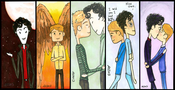 5 Sherlock bookmarks, commission art by Amy Crook